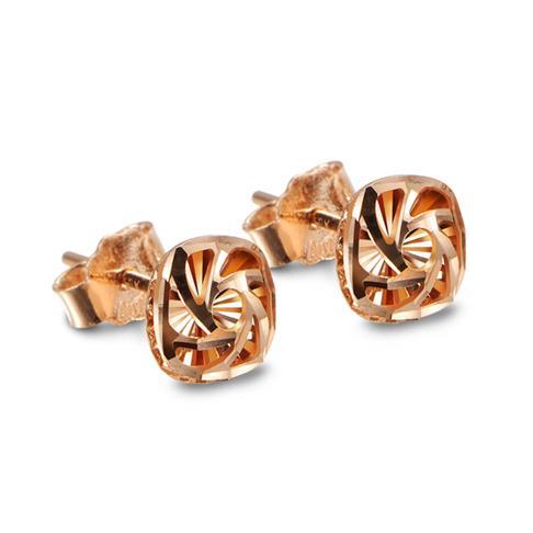 18K玫瑰金方形耳钉