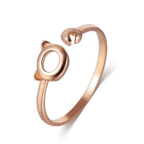 18K玫瑰金可爱小猫女款指环